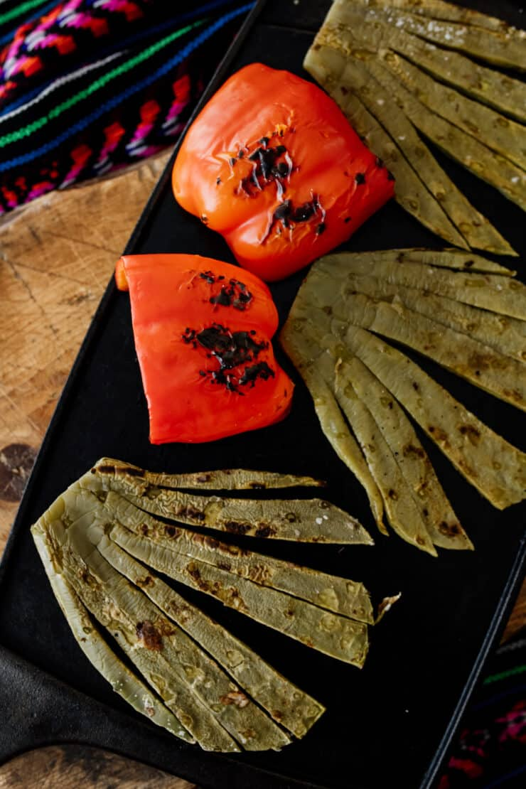 grilled nopales and bell pepper