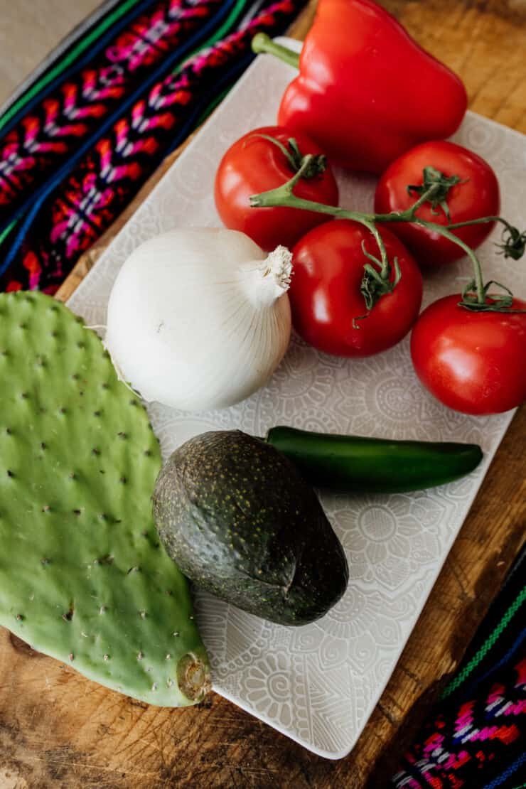nopal pad, avocado, onion, jalapeno, tomatoes and bell pepper on white plate - color of Mexican flag