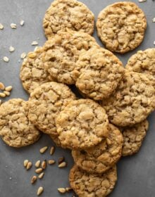 Brown Butter Oatmeal Pine Nut Cookies on a gray background