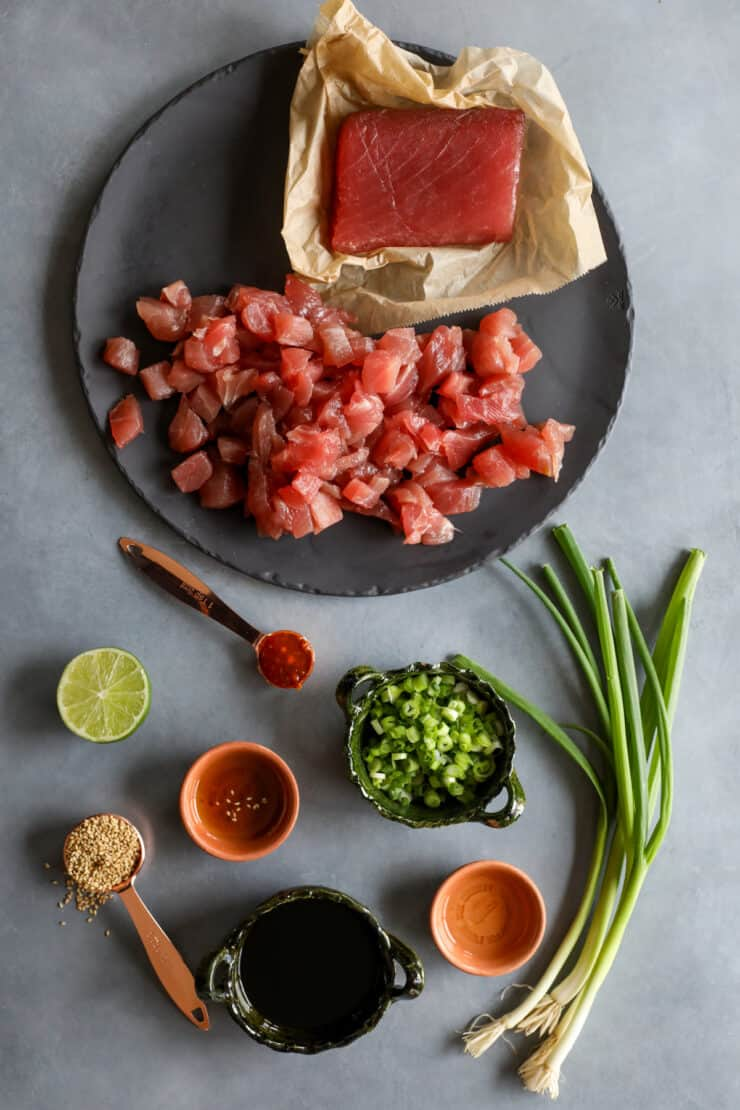 ingredients laid out to make spicy tuna poke