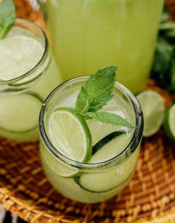 homemade agua de pepino in a glass