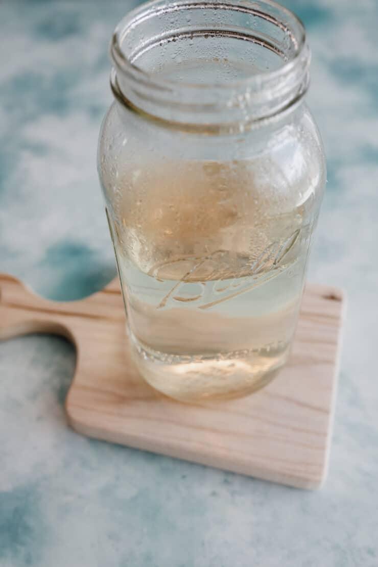 simple syrup in a mason jar