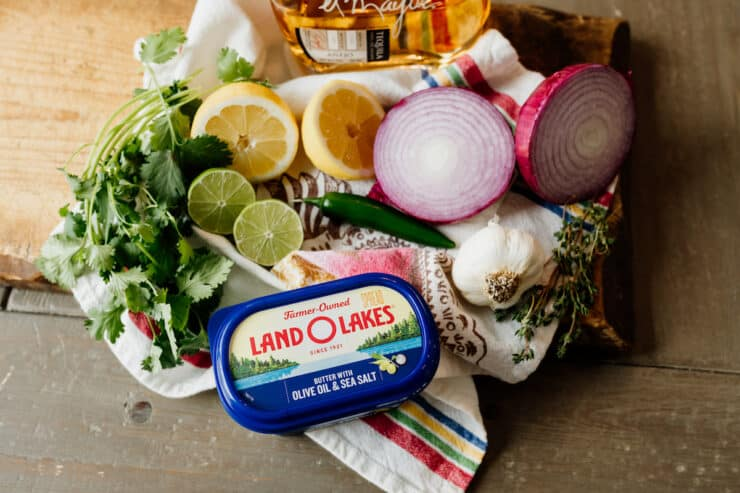 ingredients for tequila marinade for fast carne asada laid out on a table
