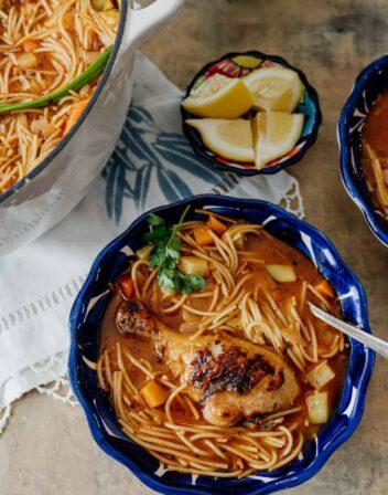 Sopa de Fideos con Pollo, a Mexican version of chicken noodle soup