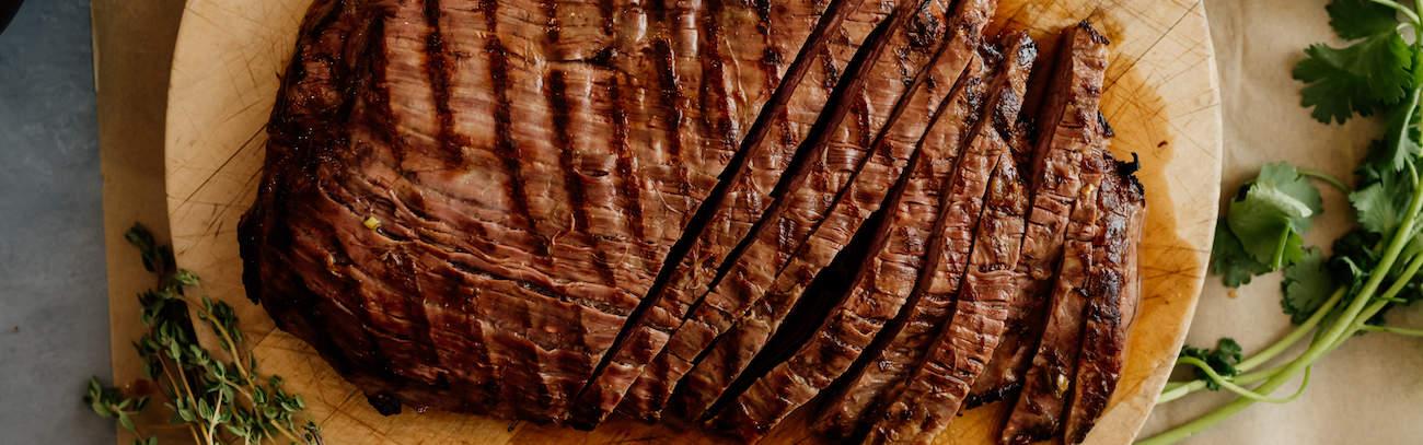 overhead shot of grilled carne asada