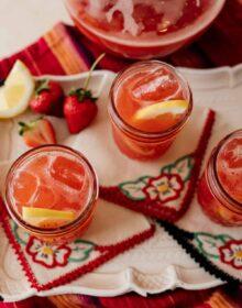 summer sweet strawberry tea in mason jars