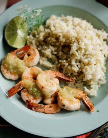 overhead shot of shrimp salsa verde with rice