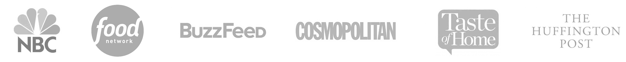 Logos: NBC, Food Network, BuzzFeed, Cosmopolitan, Taste of Home, HuffPost