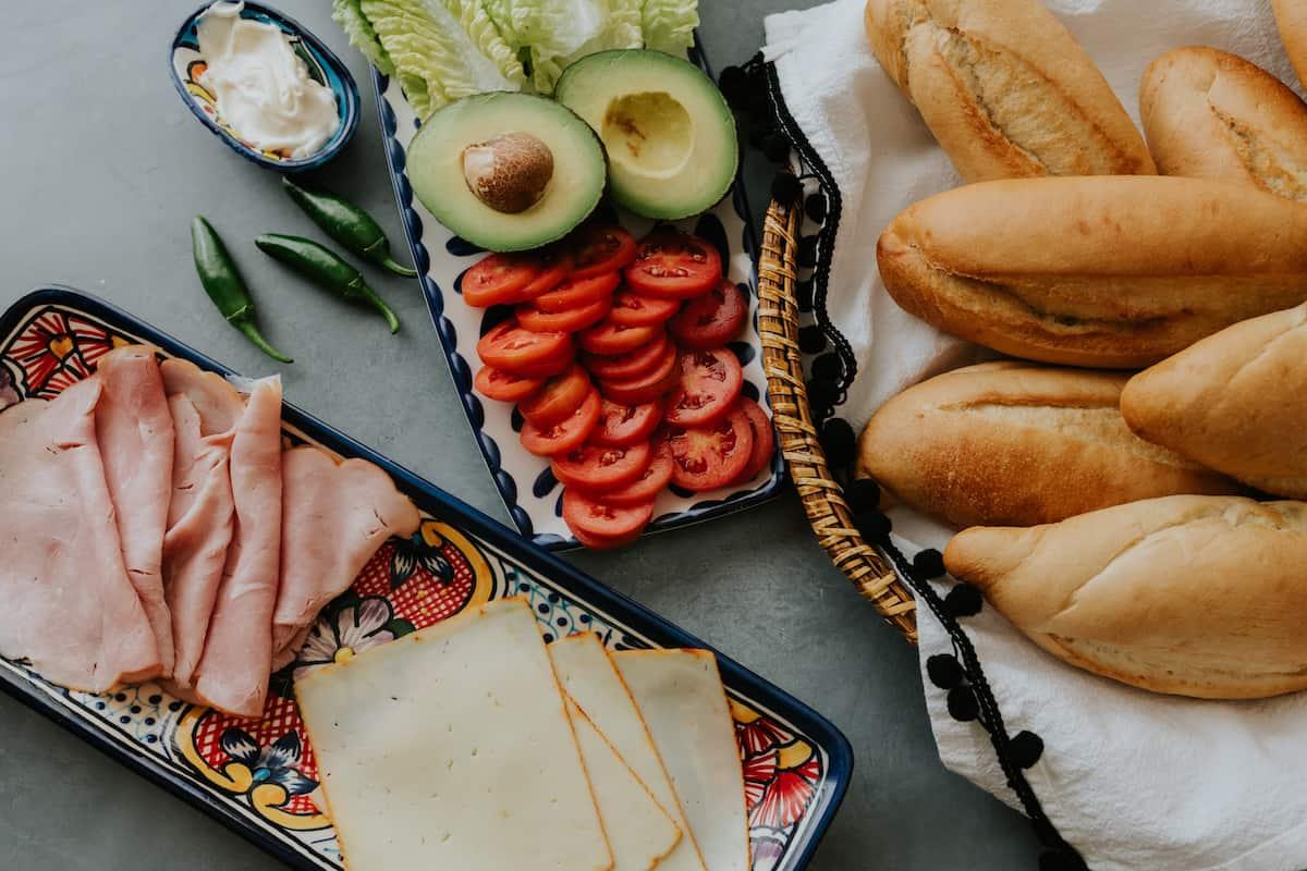 buffet style spread for making tortas de jamón