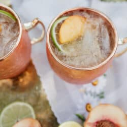 copper mug of peach kentucky mule
